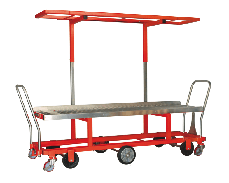 Glasshouse pipe rail trolley